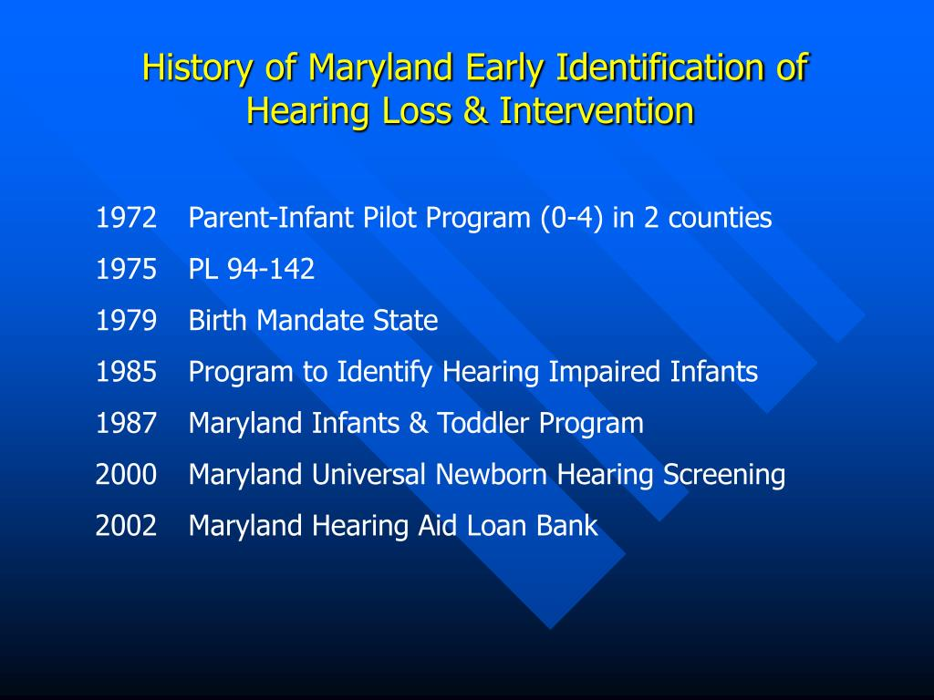 History of Maryland Early Identification of