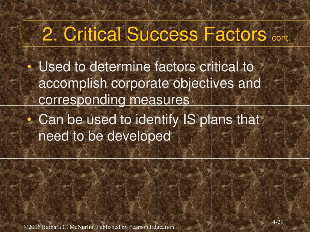 2. Critical Success Factors