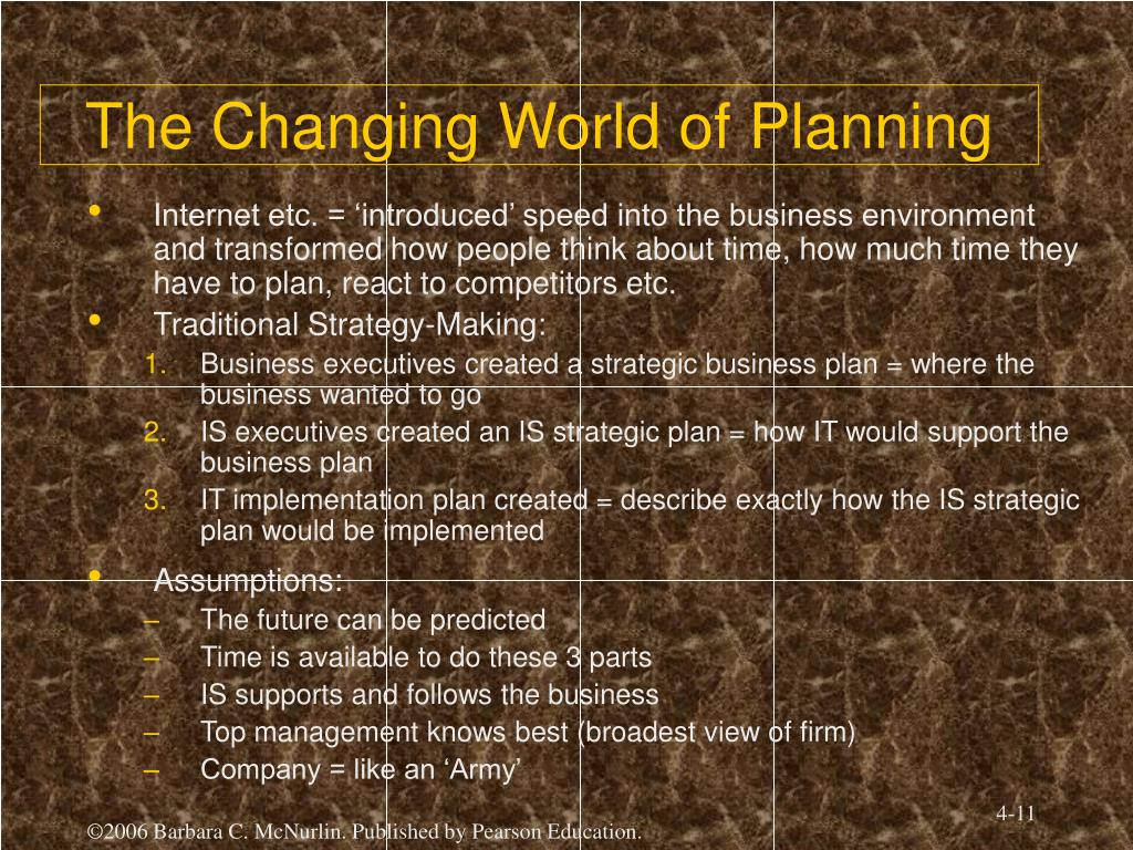 The Changing World of Planning