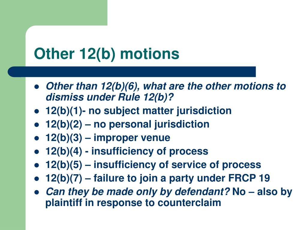 Other 12(b) motions
