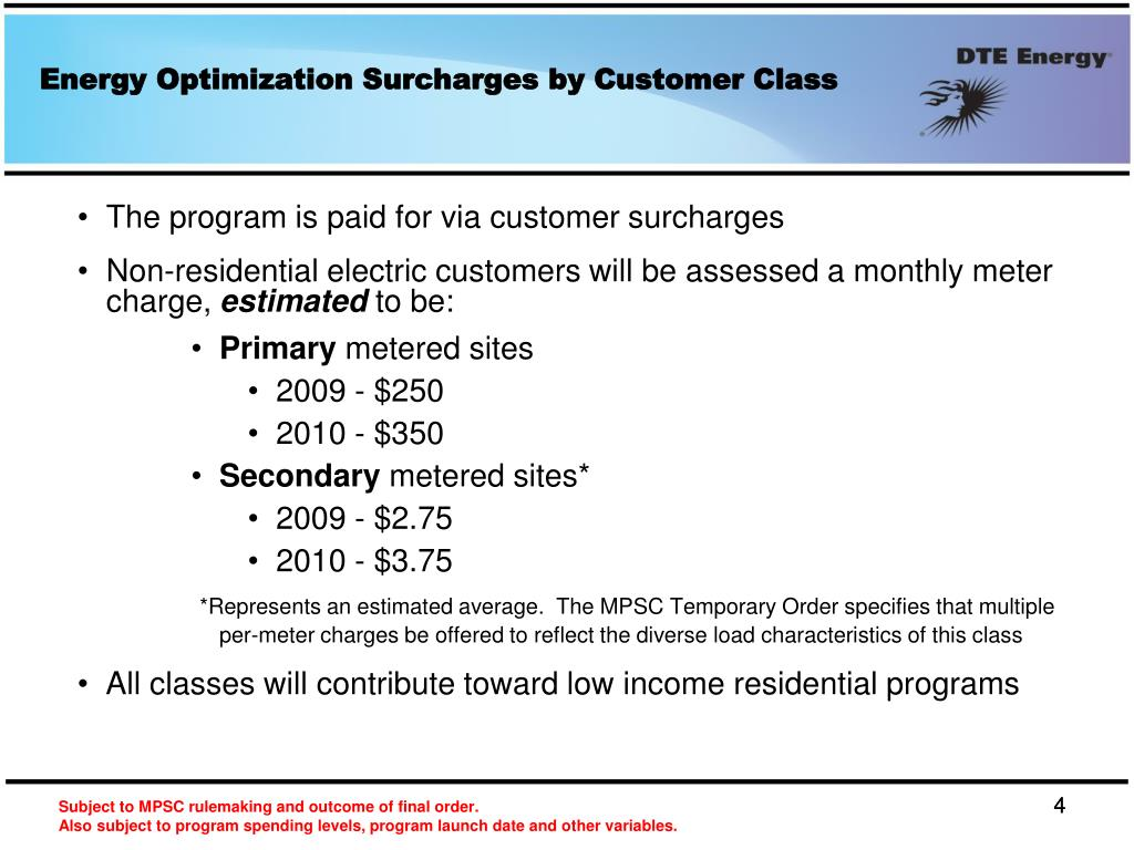 Energy Optimization Surcharges by Customer Class