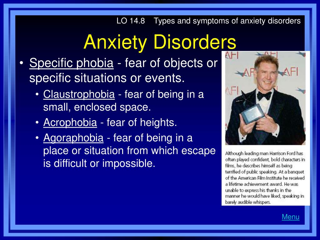 LO 14.8    Types and symptoms of anxiety disorders