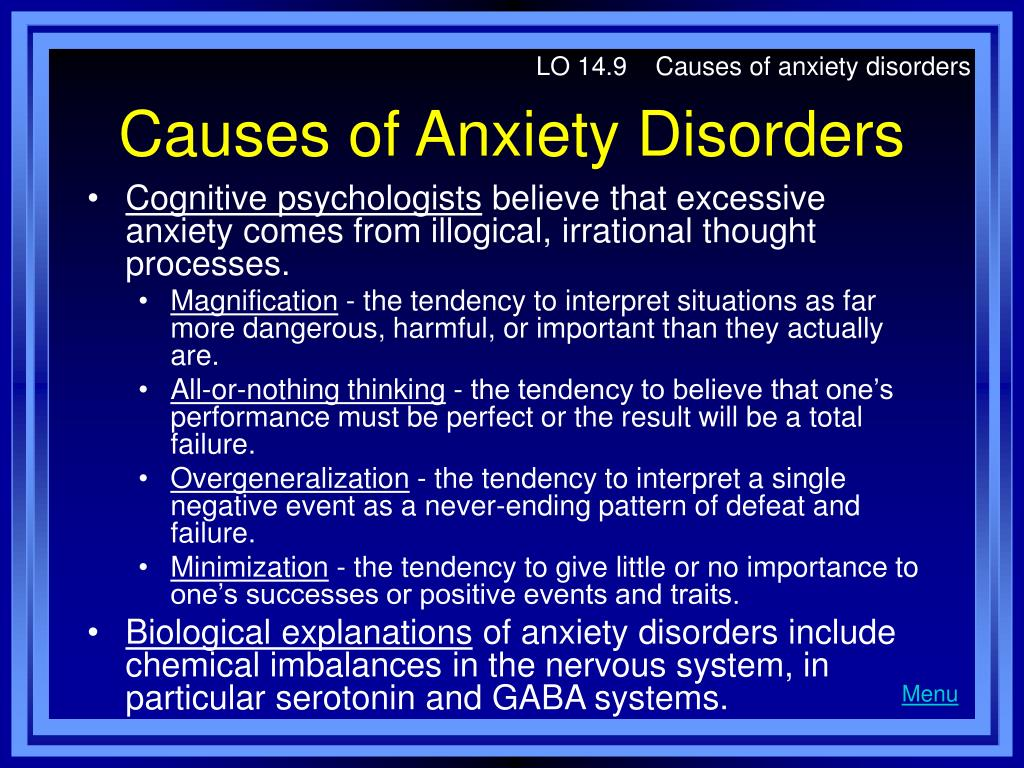 LO 14.9    Causes of anxiety disorders
