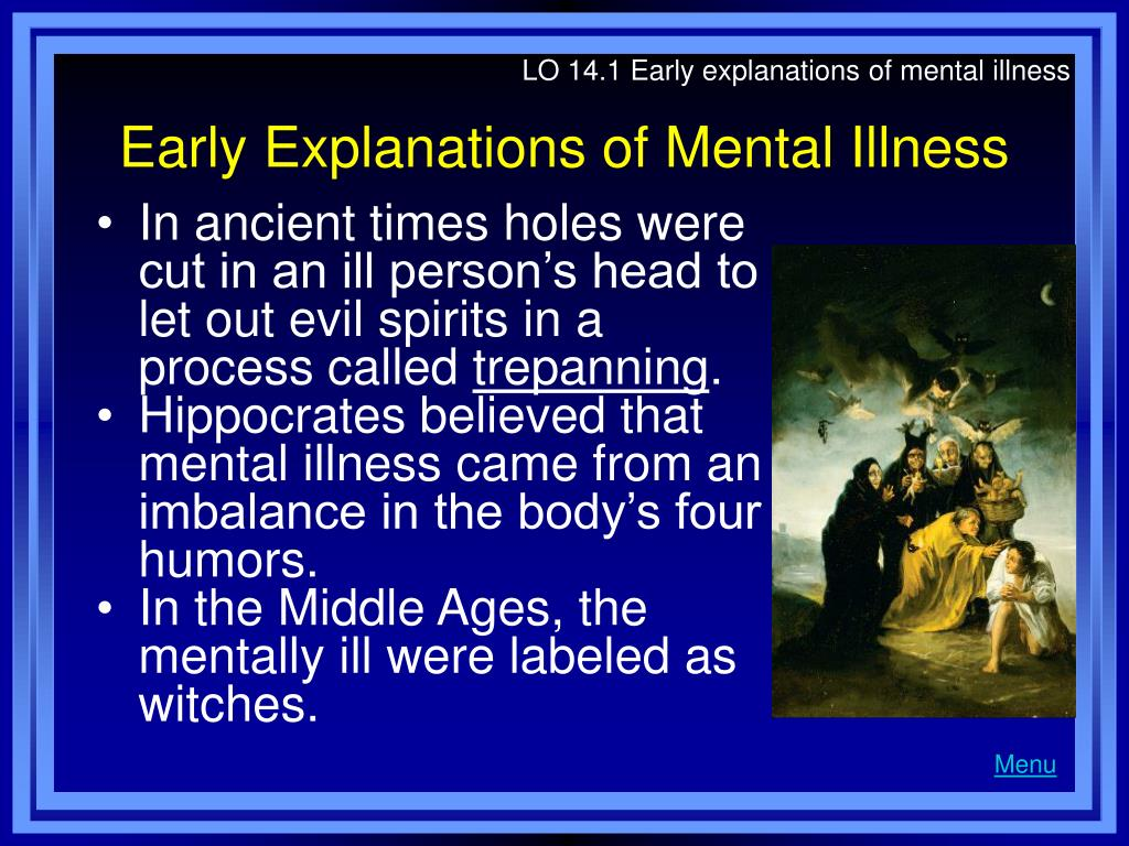 LO 14.1 Early explanations of mental illness