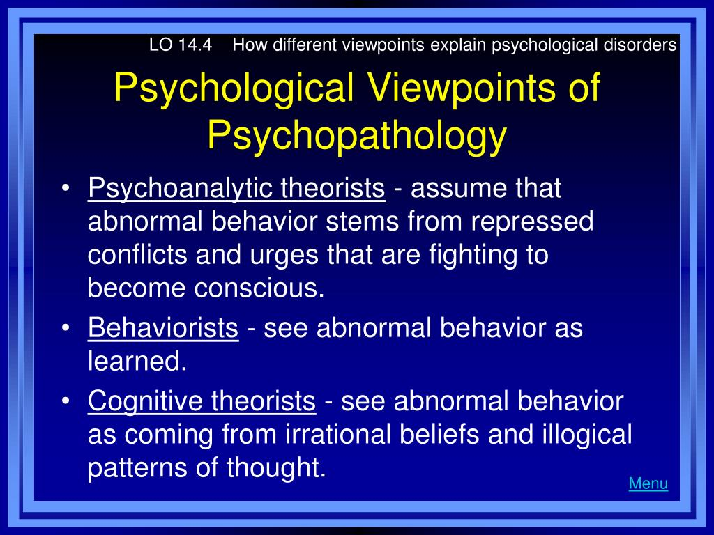 LO 14.4    How different viewpoints explain psychological disorders