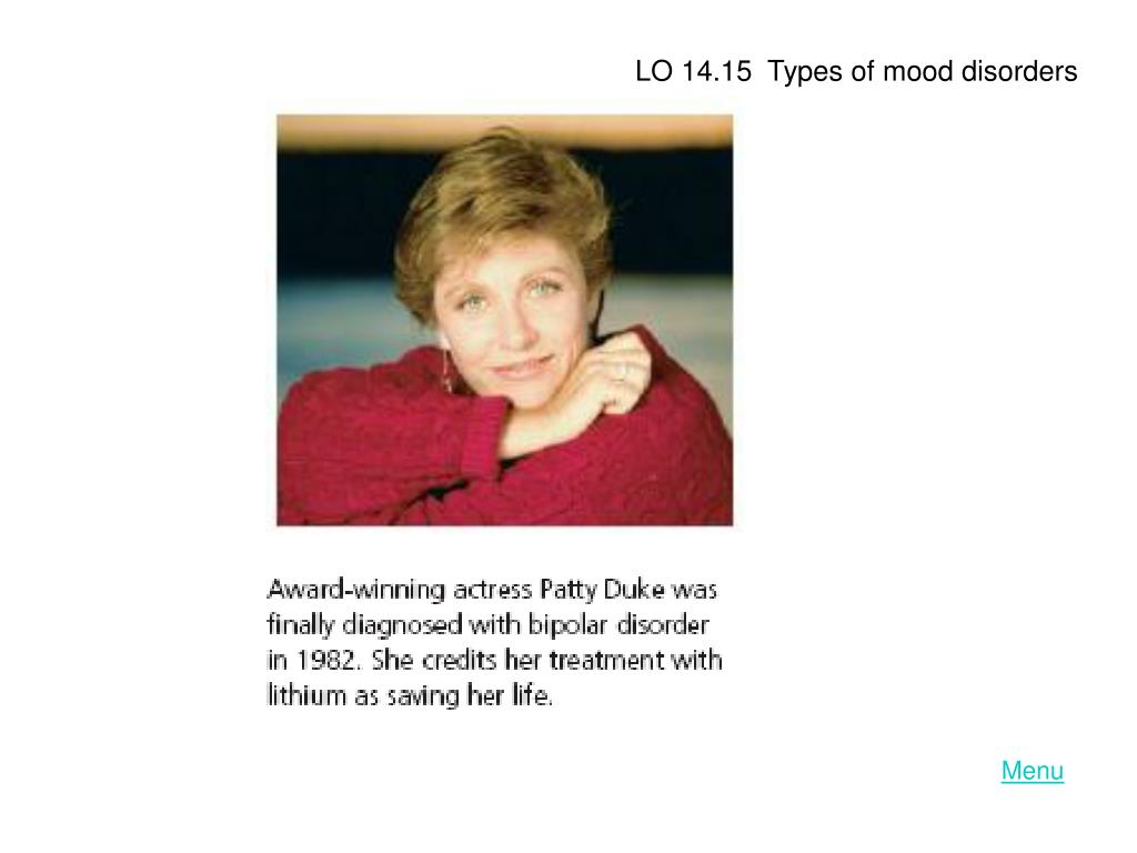 LO 14.15  Types of mood disorders