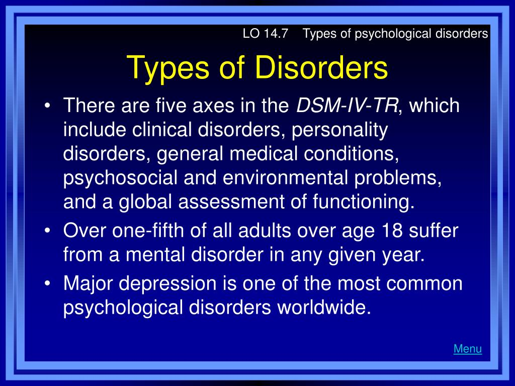 LO 14.7    Types of psychological disorders