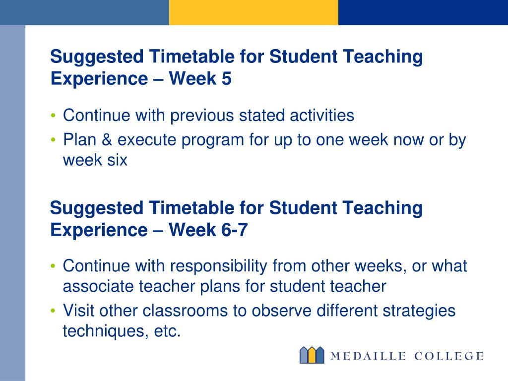 Suggested Timetable for Student Teaching Experience – Week 5