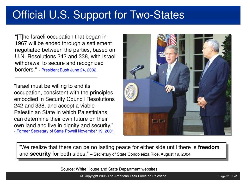 Official U.S. Support for Two-States