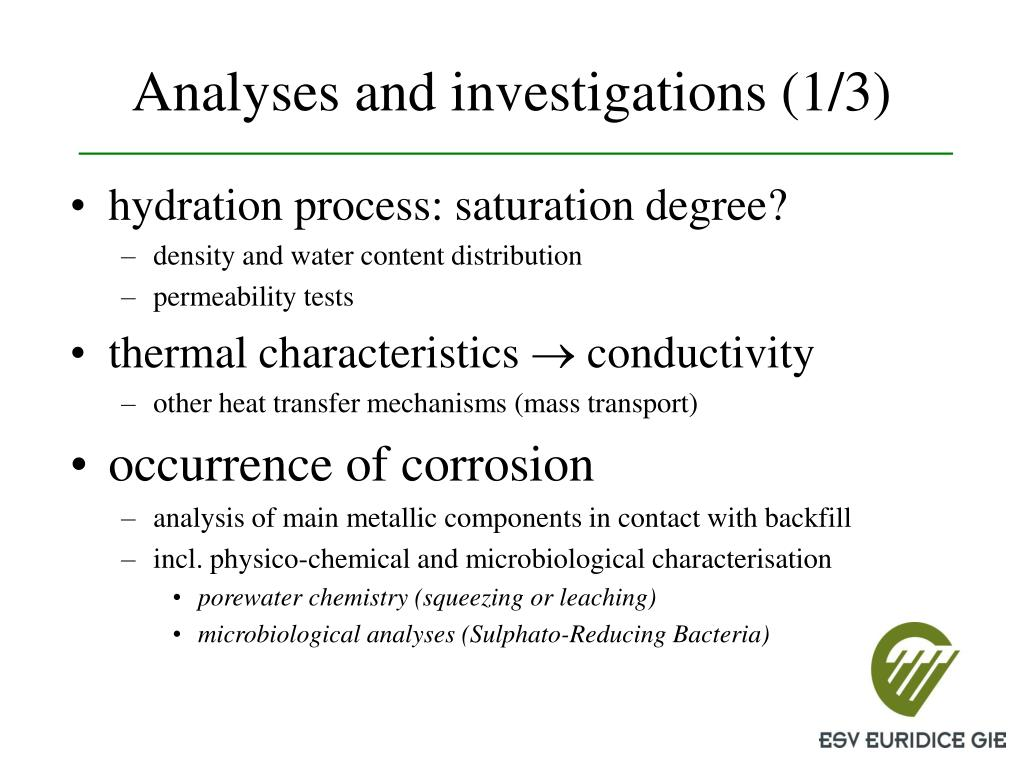 Analyses and investigations (1/3)