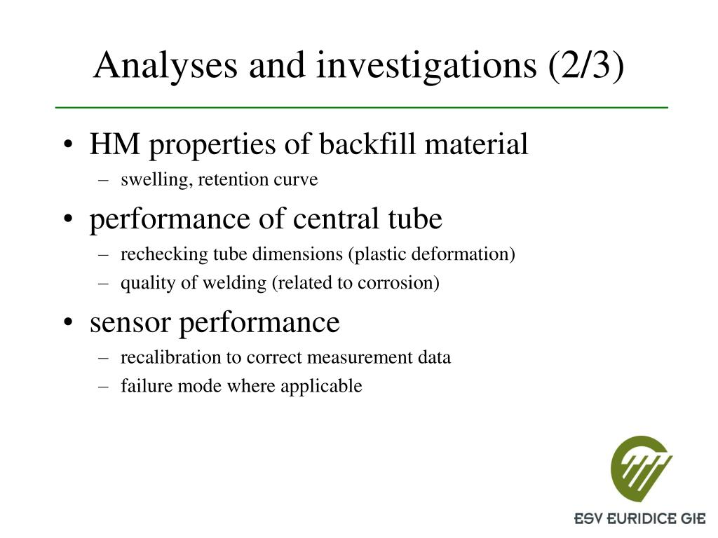 Analyses and investigations (2/3)