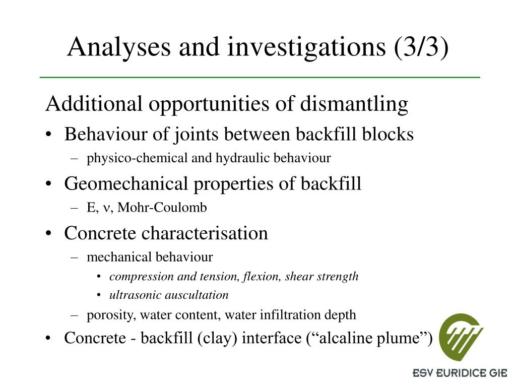 Analyses and investigations (3/3)
