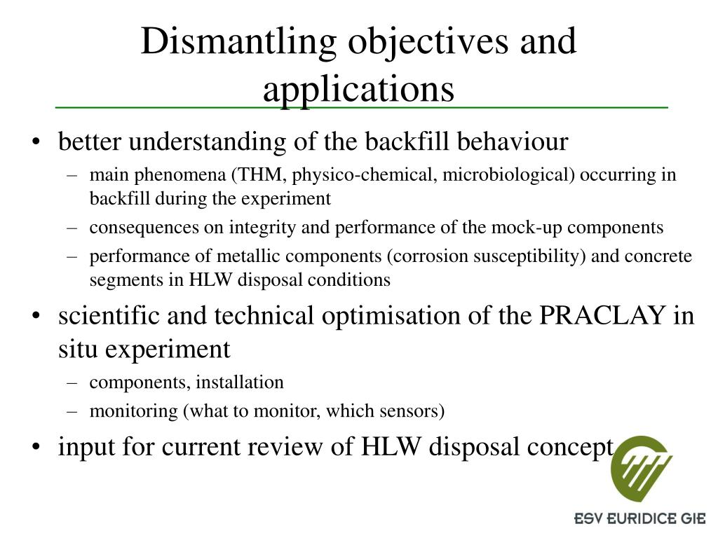 Dismantling objectives and applications