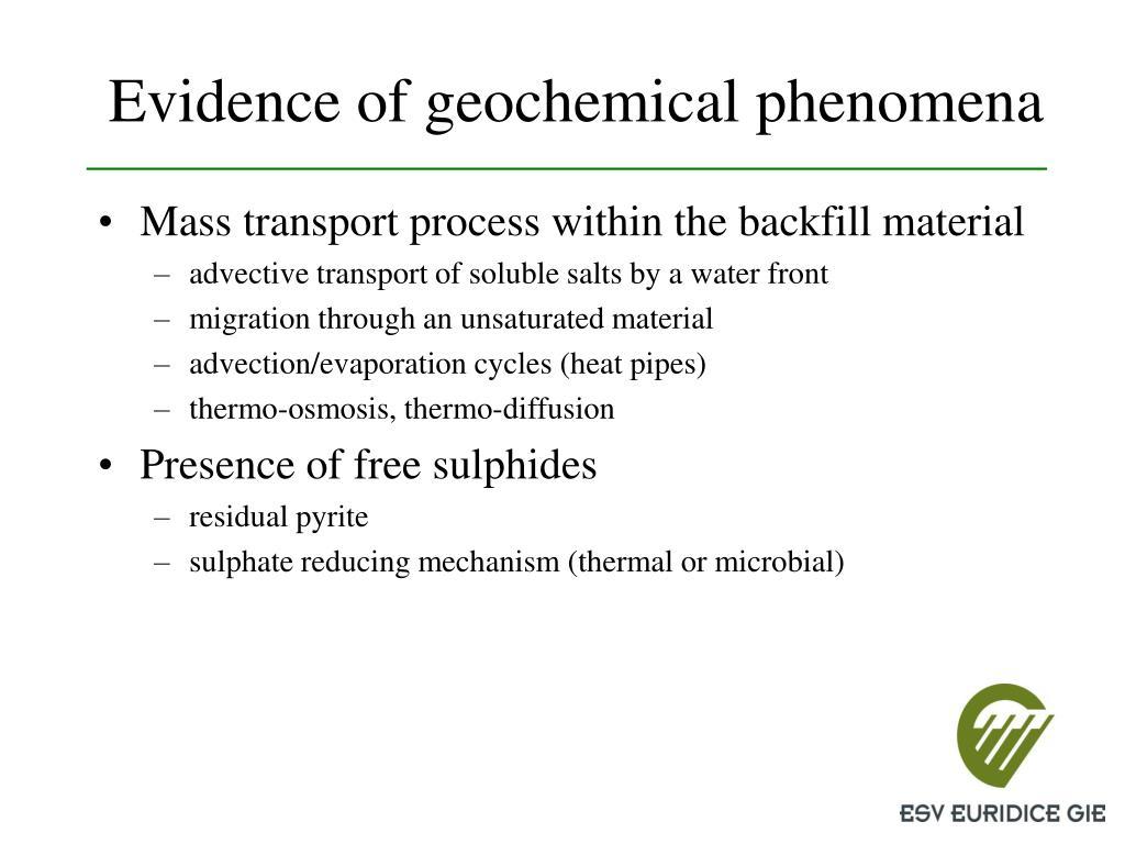 Evidence of geochemical phenomena