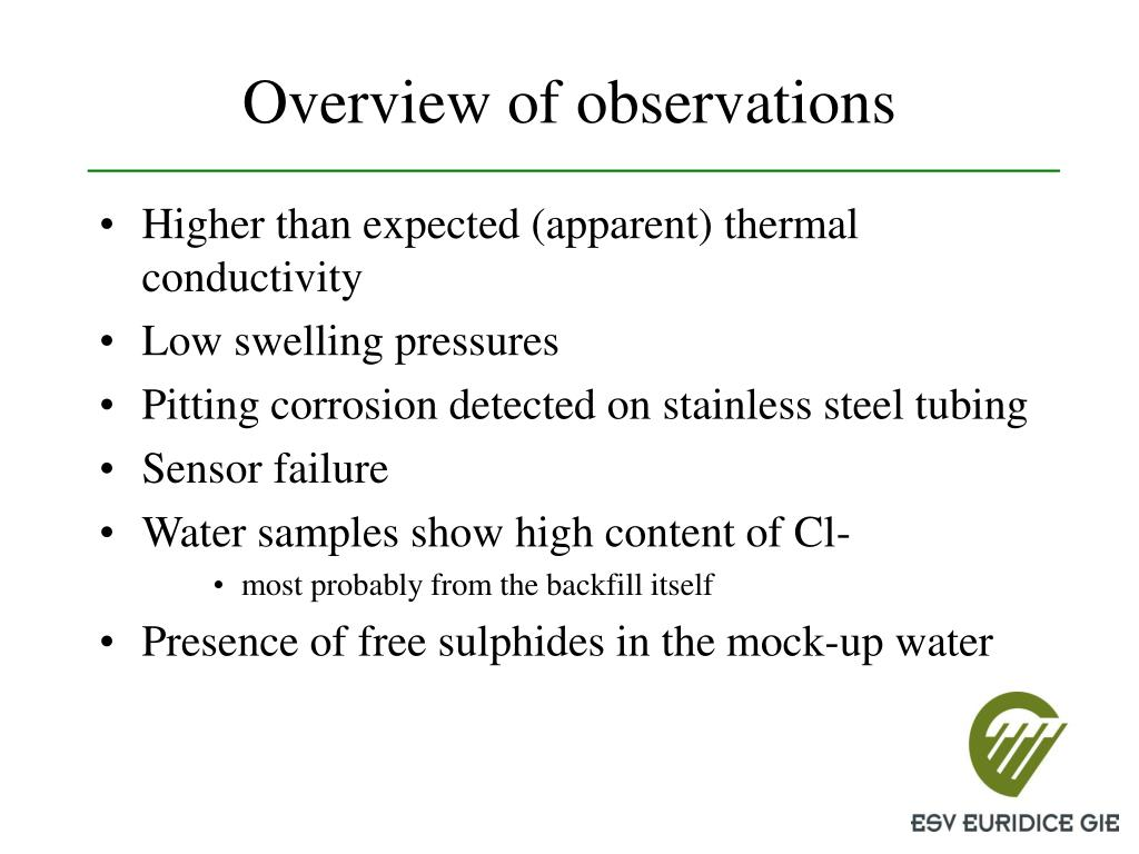 Overview of observations