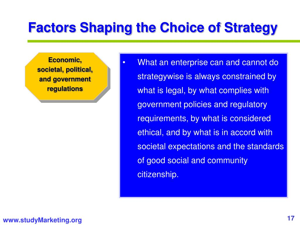 Factors Shaping the Choice of Strategy