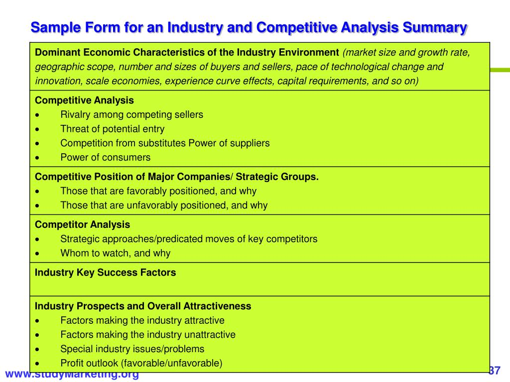 Sample Form for an Industry and Competitive Analysis Summary