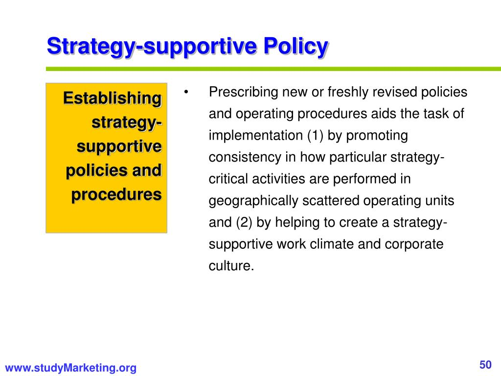 Strategy-supportive Policy