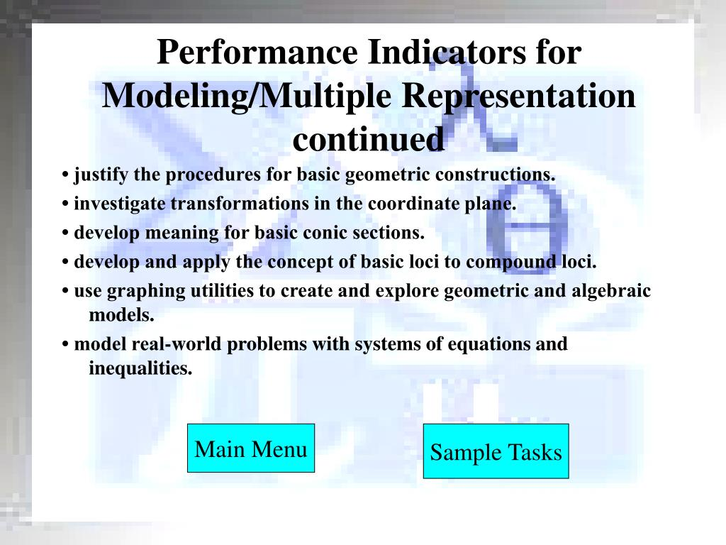 Performance Indicators for Modeling/Multiple Representation continued