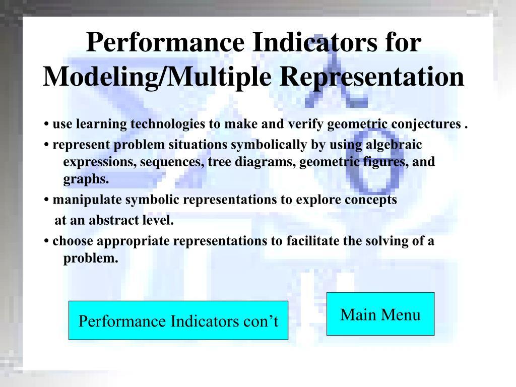 Performance Indicators for Modeling/Multiple Representation