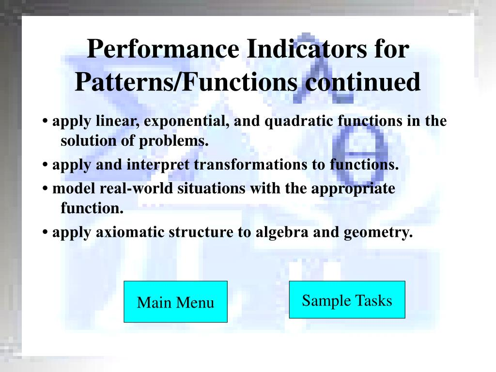 Performance Indicators for Patterns/Functions continued