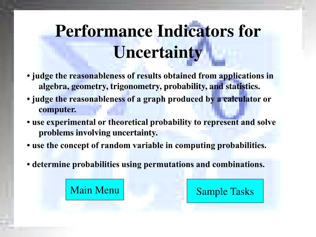 Performance Indicators for Uncertainty