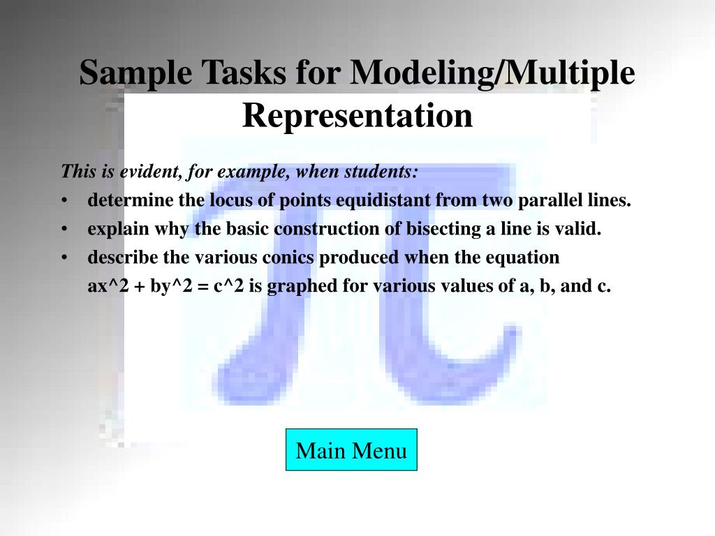 Sample Tasks for Modeling/Multiple Representation