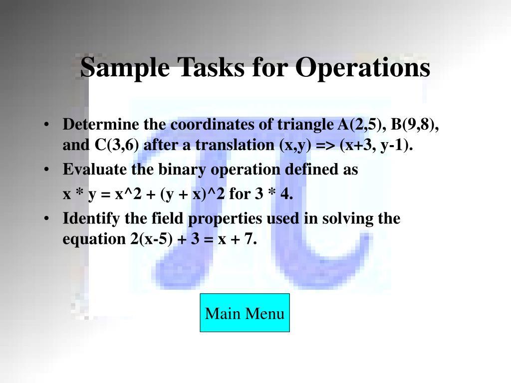 Sample Tasks for Operations