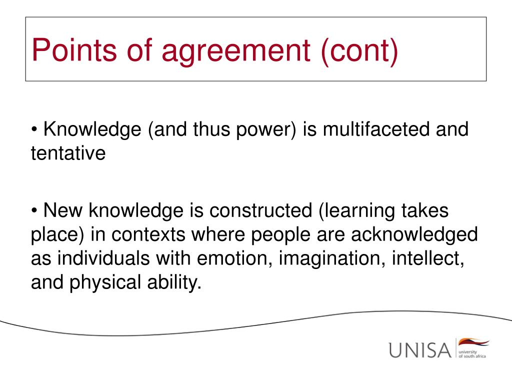 Points of agreement (cont)