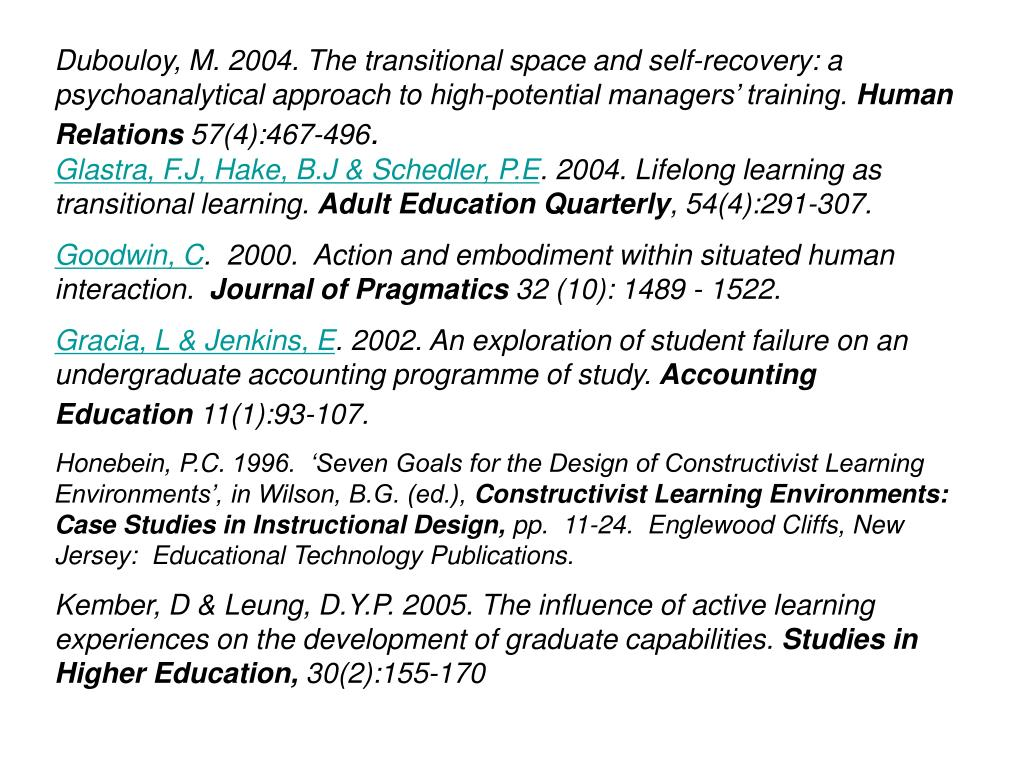 Dubouloy, M. 2004. The transitional space and self-recovery: a psychoanalytical approach to high-potential managers' training.