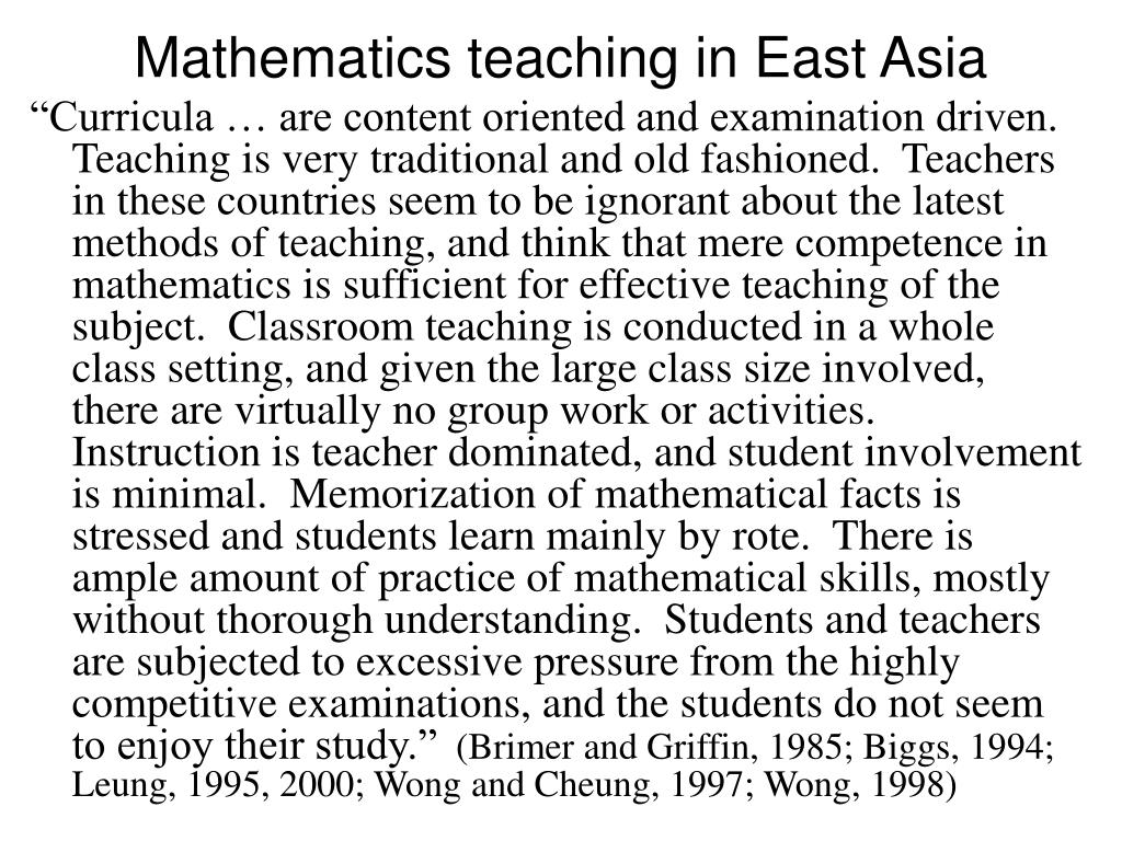 Mathematics teaching in East Asia