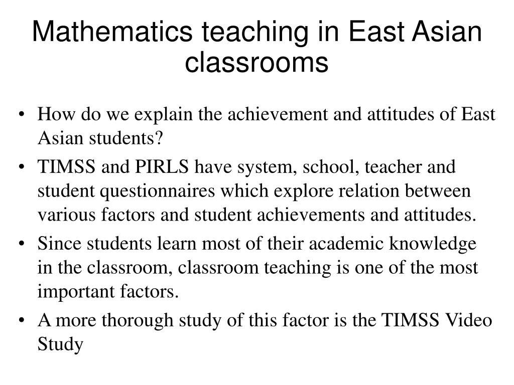 Mathematics teaching in East Asian classrooms
