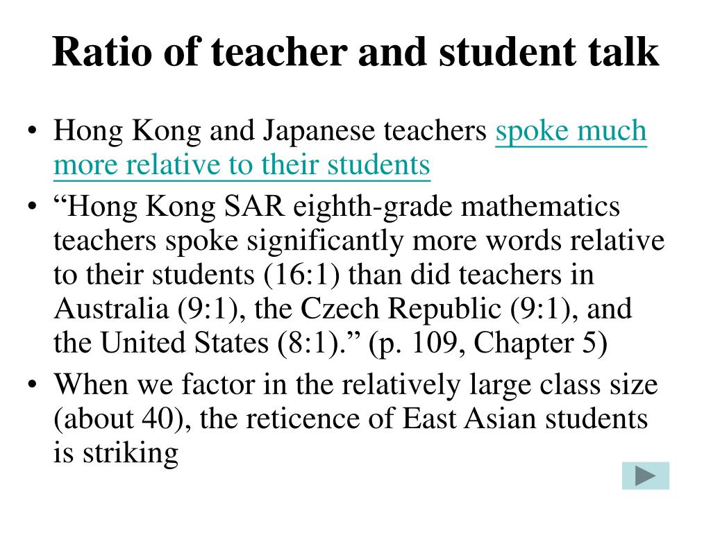 Ratio of teacher and student talk