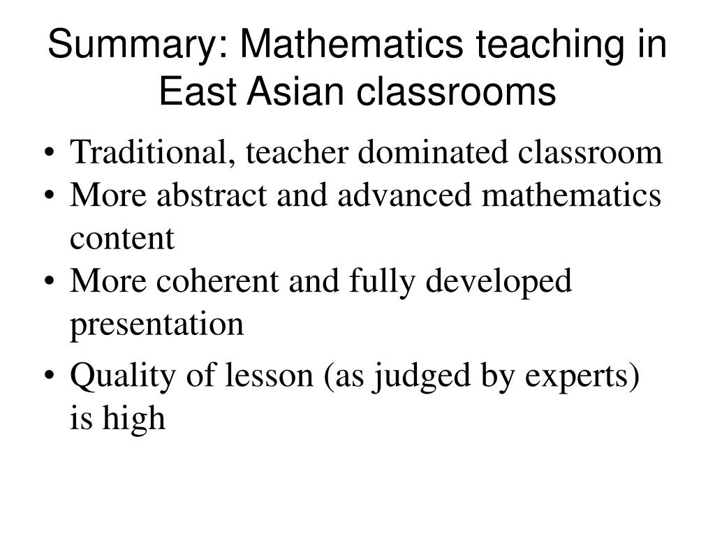 Summary: Mathematics teaching in East Asian classrooms