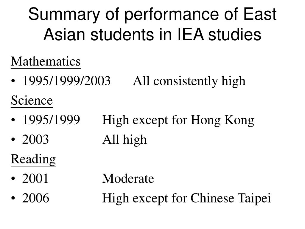 Summary of performance of East Asian students in IEA studies