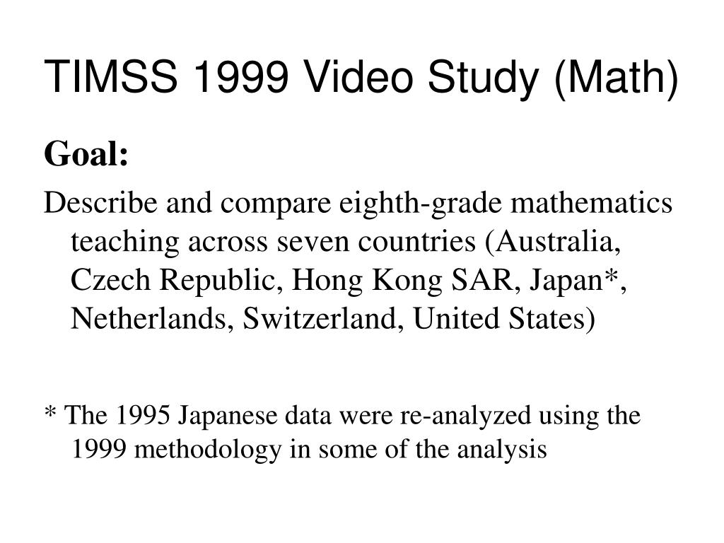 TIMSS 1999 Video Study (Math)