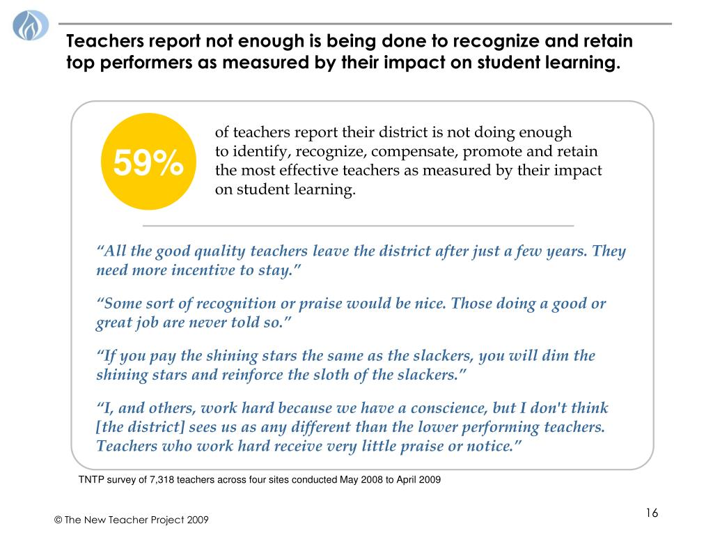 Teachers report not enough is being done to recognize and retain top performers as measured by their impact on student learning.