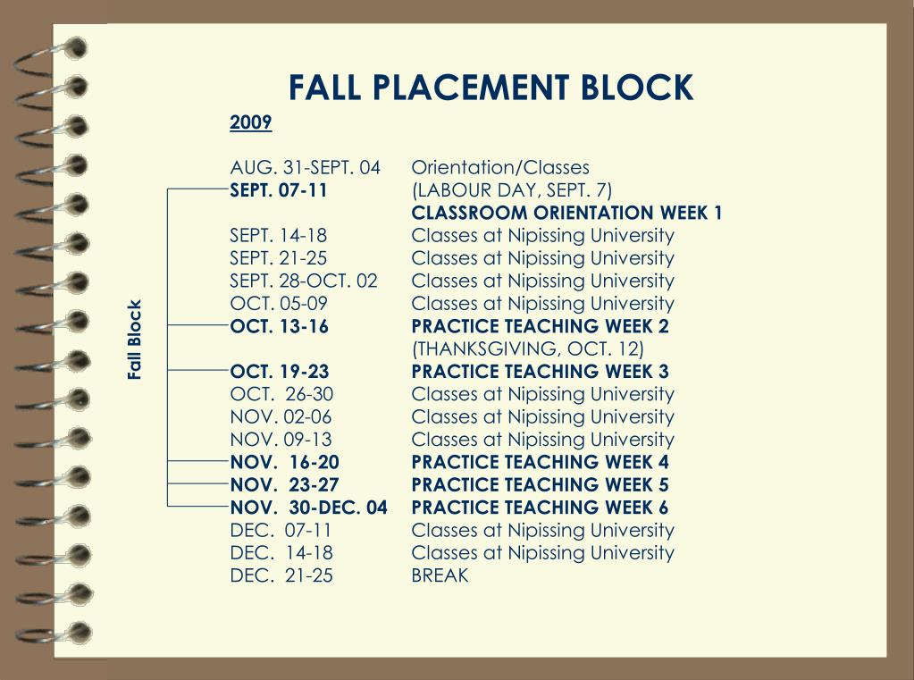 FALL PLACEMENT BLOCK