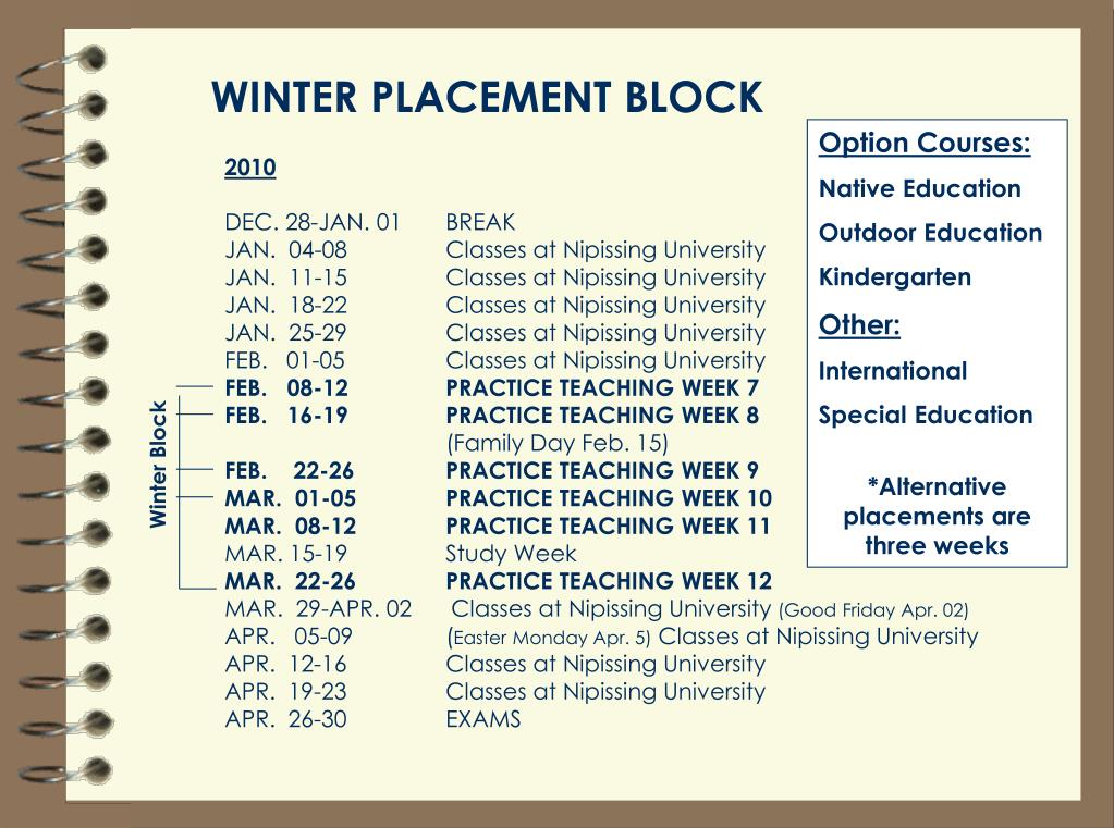 WINTER PLACEMENT BLOCK