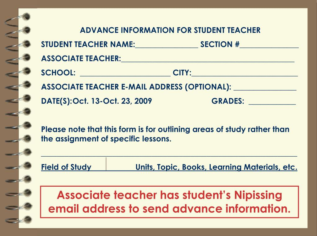 ADVANCE INFORMATION FOR STUDENT TEACHER