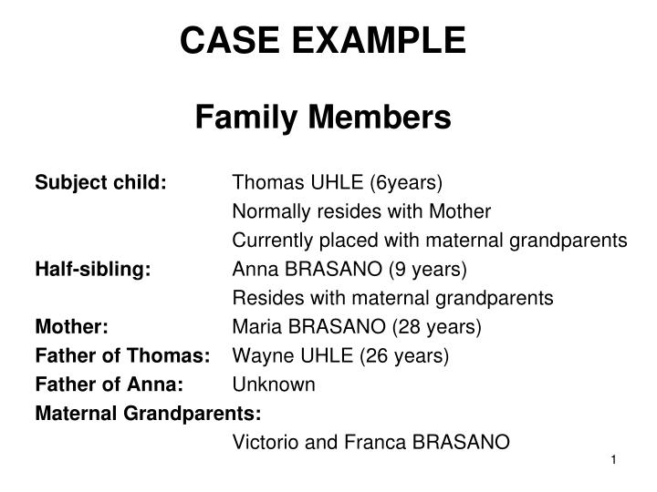 Case example family members
