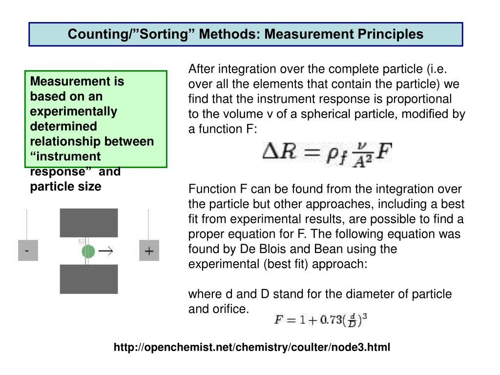 """Counting/""""Sorting"""" Methods: Measurement Principles"""