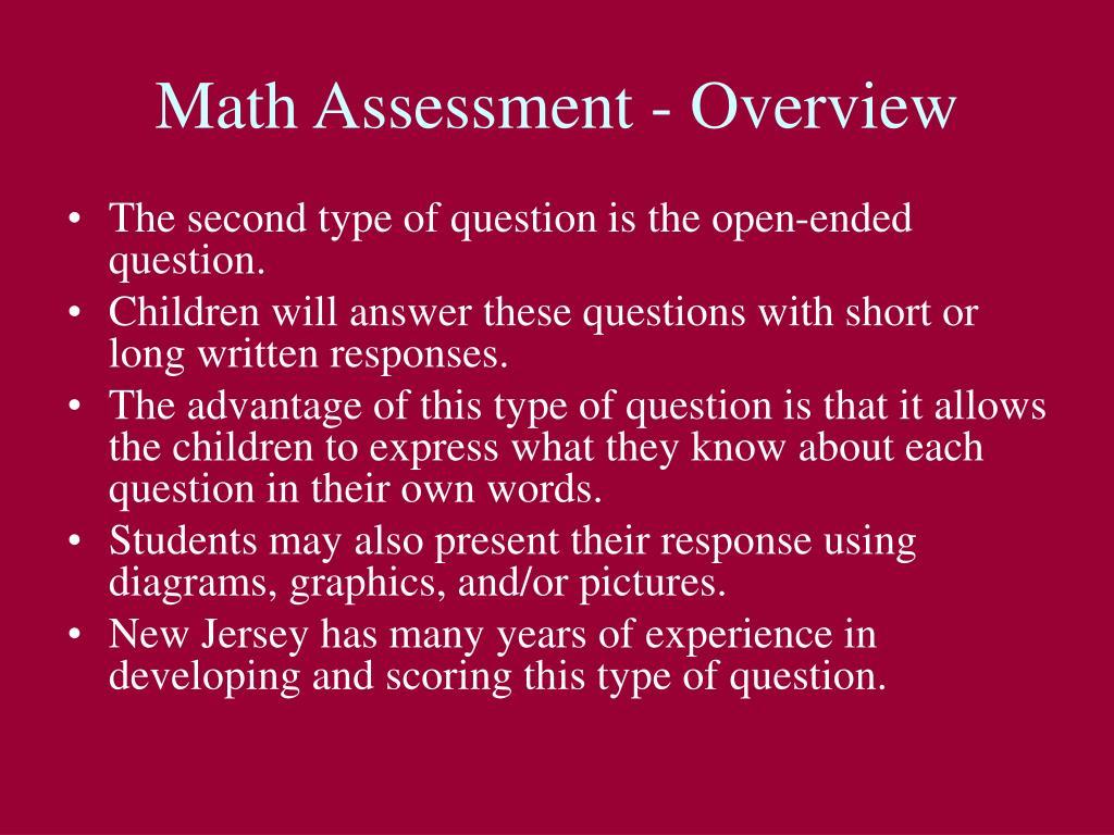 Math Assessment - Overview