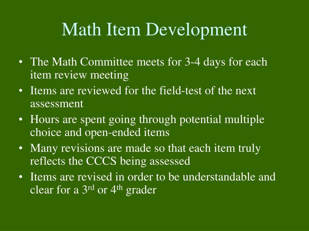 Math Item Development