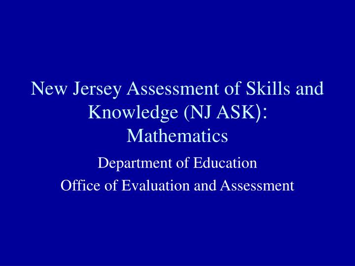 New jersey assessment of skills and knowledge nj ask mathematics