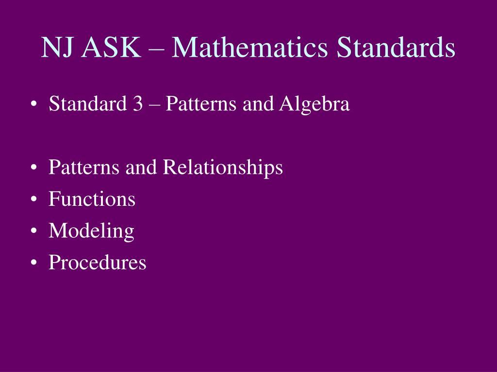 NJ ASK – Mathematics Standards