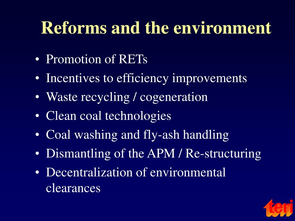 Reforms and the environment