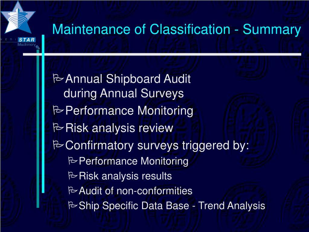 Maintenance of Classification - Summary