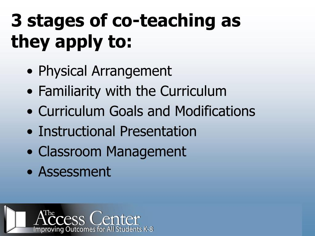 3 stages of co-teaching as they apply to: