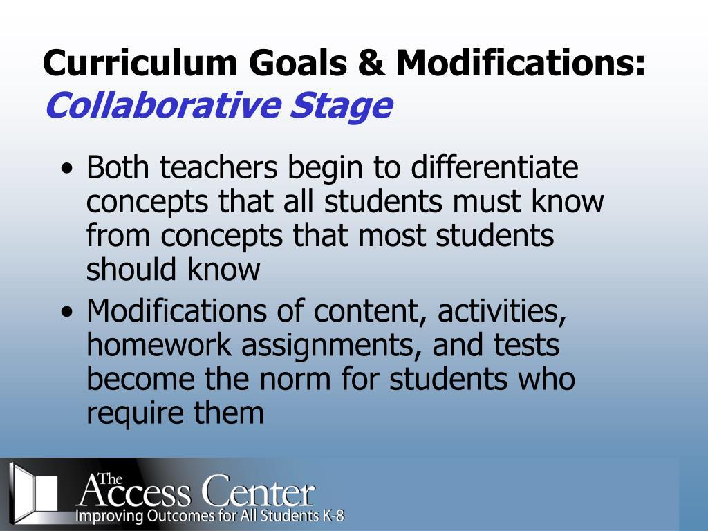 Curriculum Goals & Modifications: